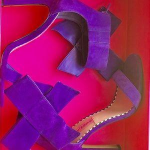 "Betsy Johnson ""Friskyy"" Purple Suede Sandals"